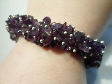 Amethyst Chip Bead, Faceted Purple Glass Bead Bracelet-110.25 Carats-Stretchable