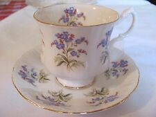 PARAGON BONE CHINA  CUP AND SAUCER  ENGLAND   WHITE/BLUE FLOWERS