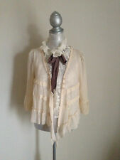 women lace layered tops chiffon jacket uneven blouse VIVI style S M