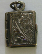 Antique Art Nouveau German Silver Book Locket Floral Charm ~ Sweet!