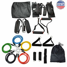 11 pcs Resistance Band Set + Suspension Trainer with Door Anchors Home Work Out