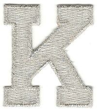 "1 7/8"" Bright Metallic Silver Monogram Block letter K Embroidery Patch"