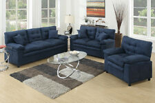 Microfiber Living Room Furniture 3Pc Sofa Set Sofa Loveseat & Chair In Blue
