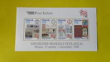 REPUBBLICA ITALIANA 1997 FOGLIETTO NUOVO ESPOSIZIONE MONDIALE DI FILATELIA T103