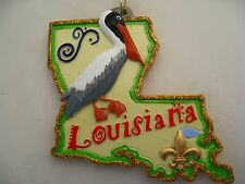 Louisiana Map Pelican Christmas ORNAMENT FREE Bag New Orleans Holiday favor