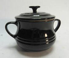 LE CREUSET SMALL BLACK SOUP CASSEROLE BOWL DISH WITH LID