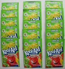 15 packets of KOOL-AID drink mix: LEMON-LIME flavor, powdered, UNSWEETENED