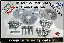 Complete Staggered Set Of 10 mm & 20 mm Audi Volkswagen Wheel Spacers + 20 bolts