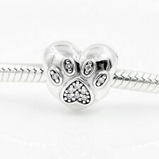 CRYSTAL PAW PRINT LOVE MY PET   Sterling Silver European Charm Bead