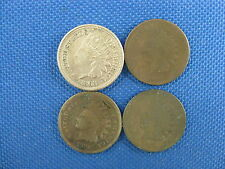 4 PC U.S. INDIAN CENT COIN LOT 1863 1865 1873 1876