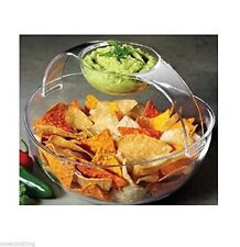 Prodyne Chip & Dip Bowl Arch Acrylic Serving Removable Handle Salad Dressing CD2