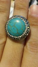 Turkish 5 Ct Round Druzy Turquoise Vintage 925 Sterling Silver S 6 Coctail Ring