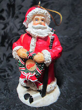"NHL Santa Hanging Resin 3.5"" Christmas Ornament w/ National Hocky League Logo"