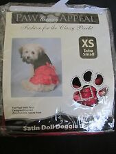 NEW PAW APPEAL DOG/PUPPY PET FASHION SATIN DOLL DOGGIE DRESS RED/BLACK SIZE XS