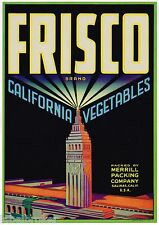 CRATE LABEL SAN FRANCISCO ART DECO BUILDING SALINAS VINTAGE ORIGINAL CLOCK TOWER
