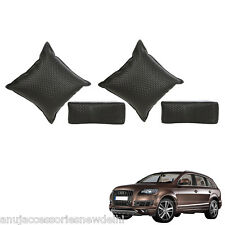 Car Seat Neck Rest & Cushion Pillow Kit Combo (Black) For Audi Q7