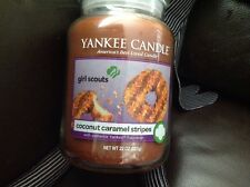 YANKEE CANDLE Coconut caramel Stripes large jar Rare HTF Deerfield