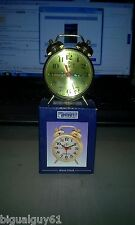 Gold Plated Old Fashioned Alarm Clock Wind Up No Batteries Required USA Stock