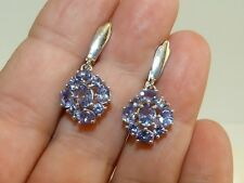 GENUINE RARE!! 3.18tcw!! Tanzanite Oval/Round Cut Cluster Earrings, Silver 925!.