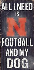 "NEBRASKA HUSKERS FOOTBALL and my DOG WOOD SIGN & ROPE 12"" X 6""  MAN CAVE!"