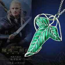 Vintage Lord of The Rings Green Leaf Elven Pin Brooch Pendant Chain Necklace FS9