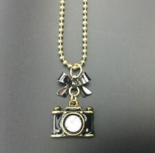 Q9 Betsey Johnson Crystal Enamel Bow Camera Long Necklace