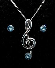 Treble Clef Pendant with Aquamarine Stones Earrings _ Music Themed Gift