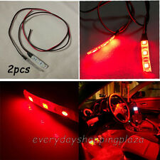 2pcs 3-SMD Ultra Red LED Strip Lights For CAR Cup Holder Glove Box Foot Area