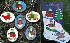 Lot of 2 Embroidery Kits WINTER GAMES ORNAMENTS & STOCKING Snowman Cardinal