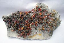 REALGAR CRIMSON RED, PYRITES, ORPIMENT & QUARTZ from PERU ..........MUSEUM PIECE