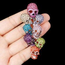 Chic Lots Skeleton Skull Head Pin Brooch Austrian Crystal Multi 18K Gold GP