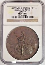 Swiss 1887 Bronze Medal Shooting Fest Geneva R-628d Switzerland NGC MS64