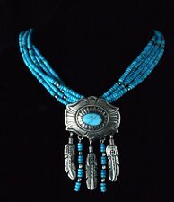 Native American Navajo Indian Jewelry SS 5 Strand Turquoise Feather Necklace