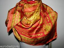 "NWT VERSACE ATELIER 100% SILK SQUARE 35""X35"" PINK, RED&GOLD SCARF made in Italy"