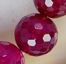 12mm Faceted Magenta Fire Agate Round Bracelet 16pcs