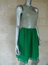 $98  Kensie Green Seguined One Shoulder Cocktail Party Clubwear Dress Sz 10 NWT