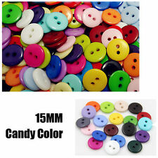 100Pcs 15mm RESIN BUTTONS MIXED COLOURS CRAFT SCRAPBOOK SEWING CARDMAKING