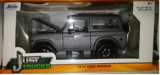 1973 Ford Bronco Suv Truck Die-cast Car 1:24 Jada Toys 7 inch Charcoal Gray