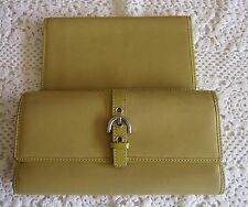 Coach PEA GREEN Checkbook Wallet Heritage Smooth Leather Tri-Fold VG