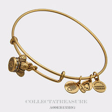 Authentic Alex and Ani King's Crown Russian Gold Charm Bangle