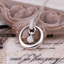 NEW Fashion 925 Sterling Silver Beautiful Crystal pendant women Necklace N383