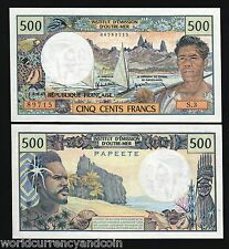 TAHITI FRANCE 500 FRANCS P25 1985 PAPEETE BOAT FISH UNC CURRENCY BILL BANK NOTE