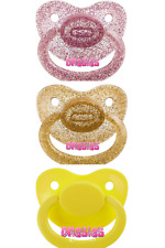 Adult Pacifier Triple Pack - Glitter Purple, Glitter Gold & Yellow | ABDL DDLG
