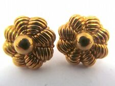 CHIMENTO 18k YELLOW GOLD EARRINGS   VINTAGE CLASSIC BUTTONS  14K BACKS   5.1 GR