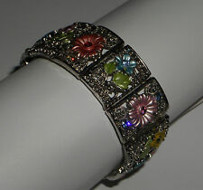 MULTI-COLOUR ENAMEL FLOWER BRACELET SILVER P FILIGREE GLASS CRYSTAL ELASTICATED