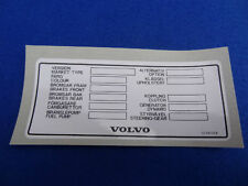 VOLVO CLASSIC 240 / 260 / 262 VEHICLE INFORMATION DECAL STICKER