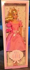 It's A Girl Barbie doll 2013 blonde with pink teddy bear toy NRFB