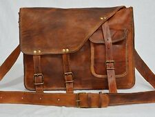 Vintage leather real leather messenger satchel cross body bag briefcase