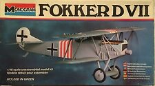 1/48 Scale FOKKER DVII BIPLANE Airplane Model Kit Monogram Kit #5203 - Complete