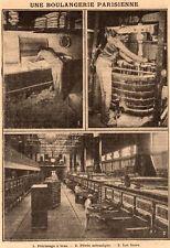 PARIS UNE BOULANGERIE PARISIENNE PETRISSAGE A BRAS PETRIN FOURS IMAGE 1910 PRINT